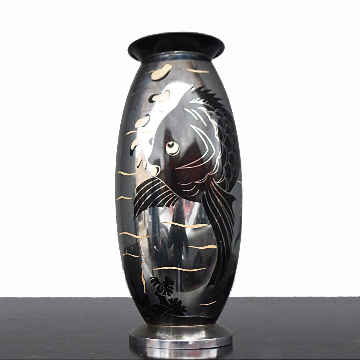 Lampe En Dinanderie Art Déco Au Poisson 1930 Lucien Gerfaux