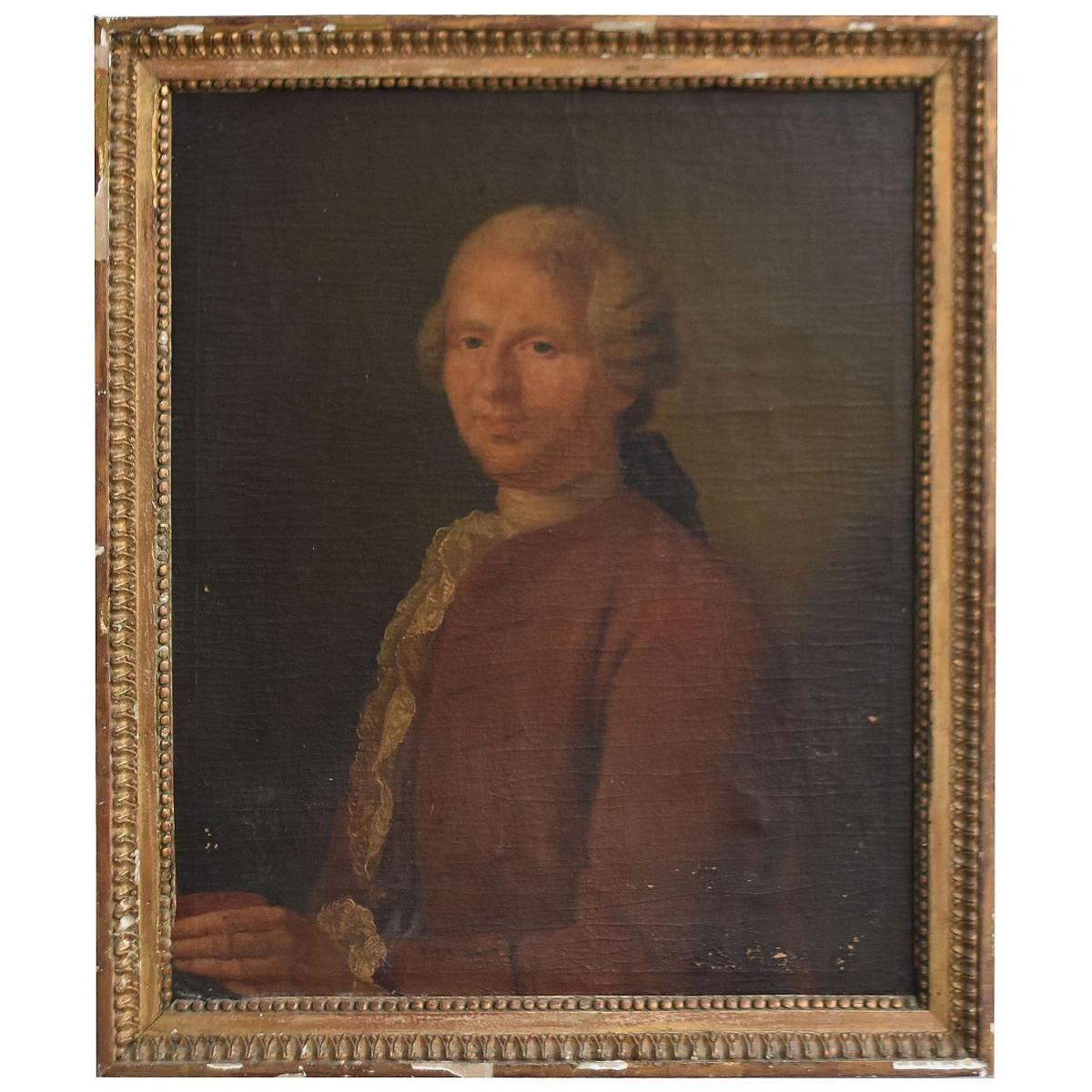Portrait Of Gentleman In Oil On Canvas Eighteenth Time