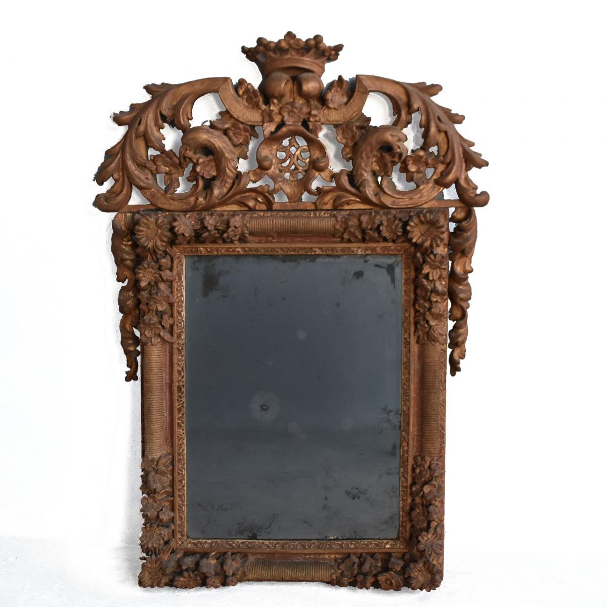 Miroir Louis XIV En Bois Sculpté Et Doré époque XVIIIème