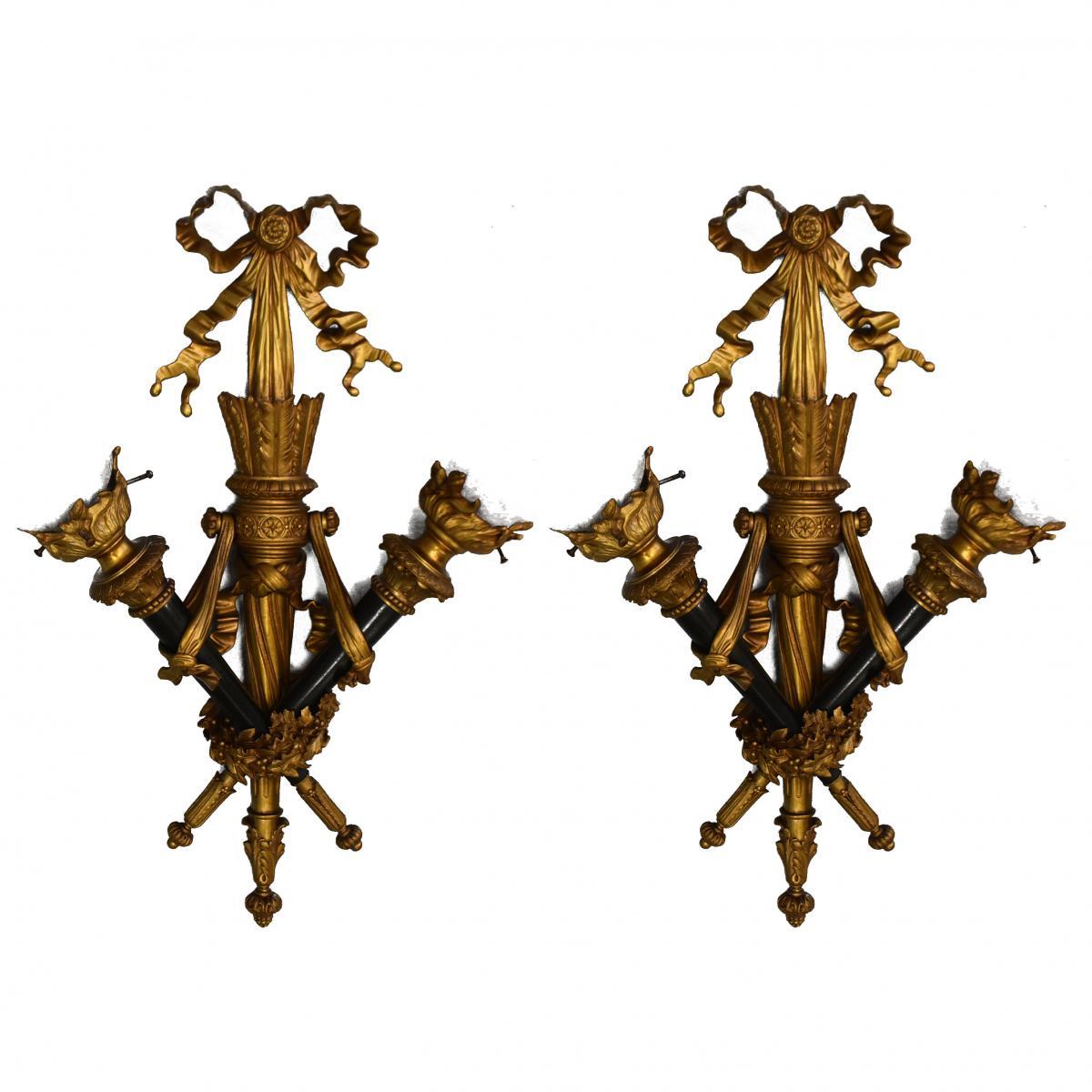 Paire d'Appliques Aux Flambeaux Bronze Style Louis XVI