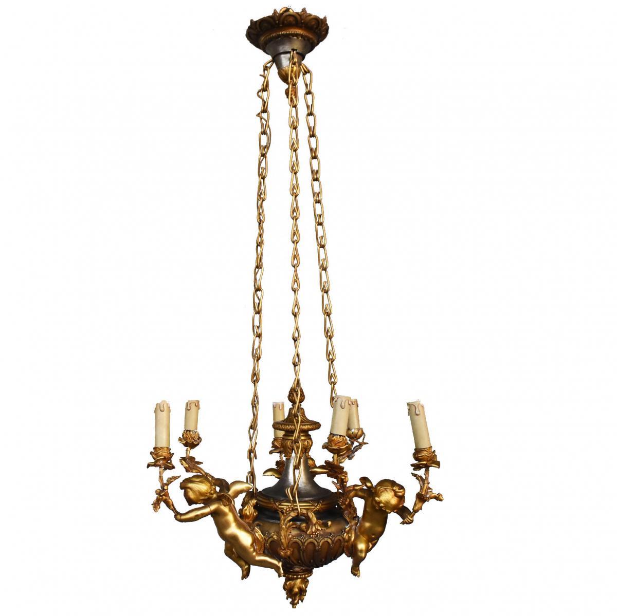 Lustre Aux Bébés Bronze Doré Napoléon III