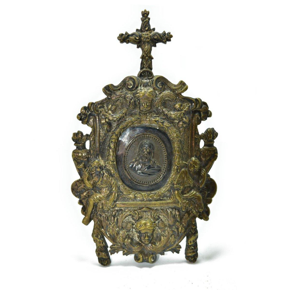 Osculatoire En Bronze Doré Et Argent d'époque Louis XIV