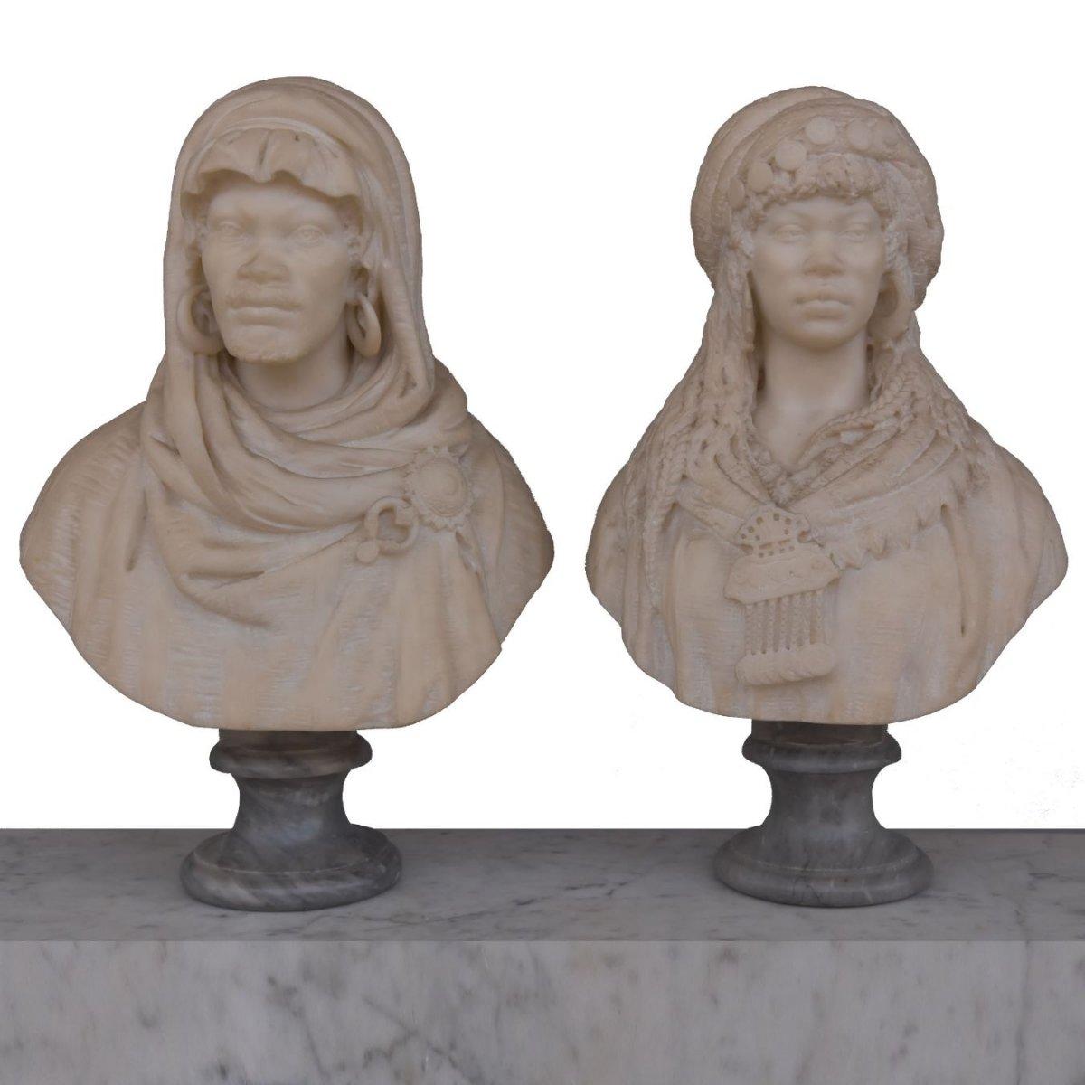 Pair Of Orientalist Busts In Nineteenth Carrara Marble