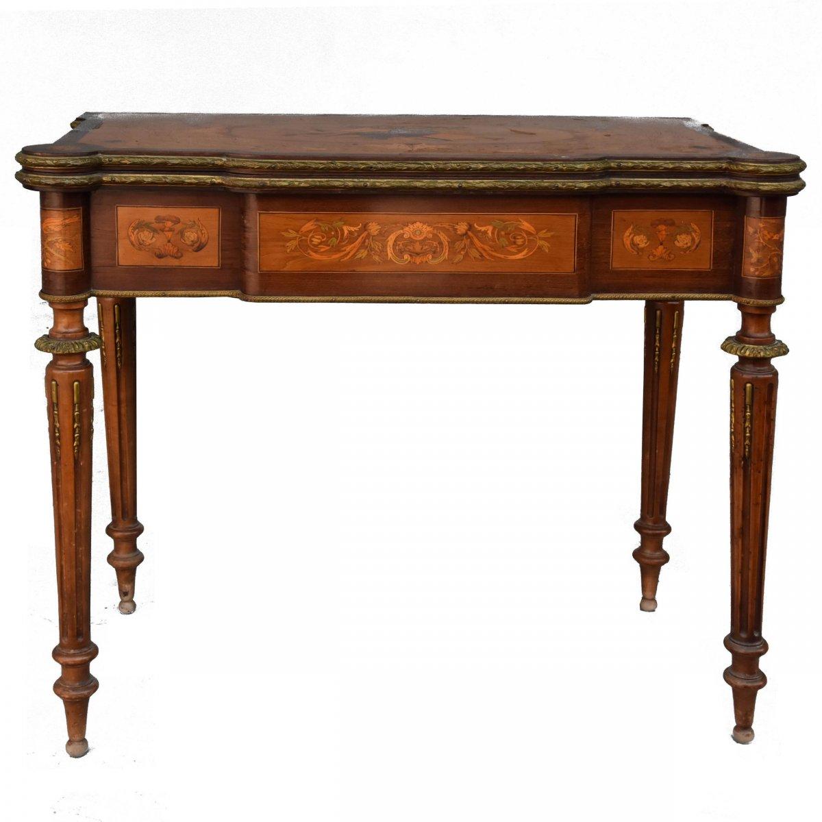 Table à Jeu à Système Napoléon III Marquetée XIXème