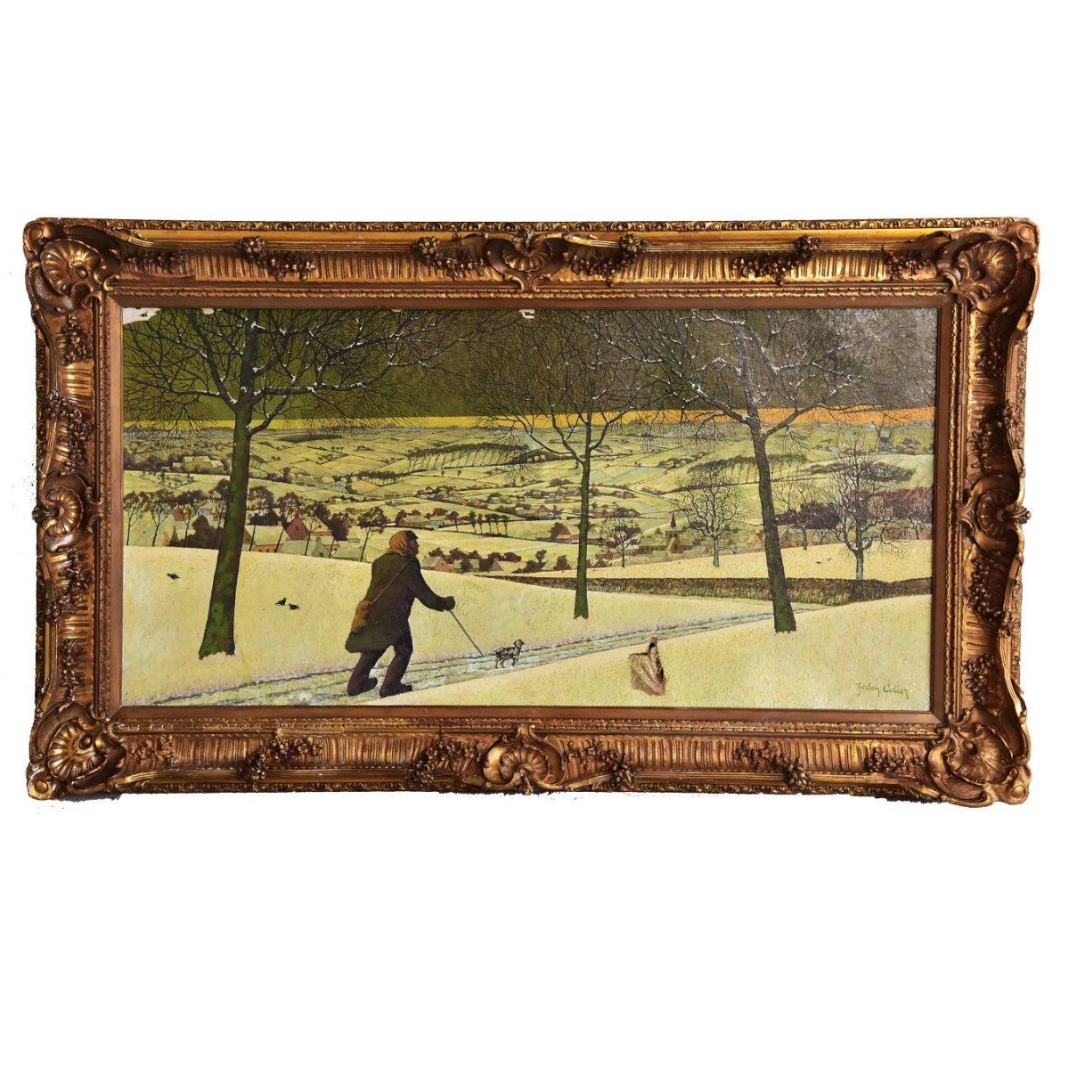 Paysage Enneigé Peinture à l'Huile Sur Toile XIXème Par Berten Colier