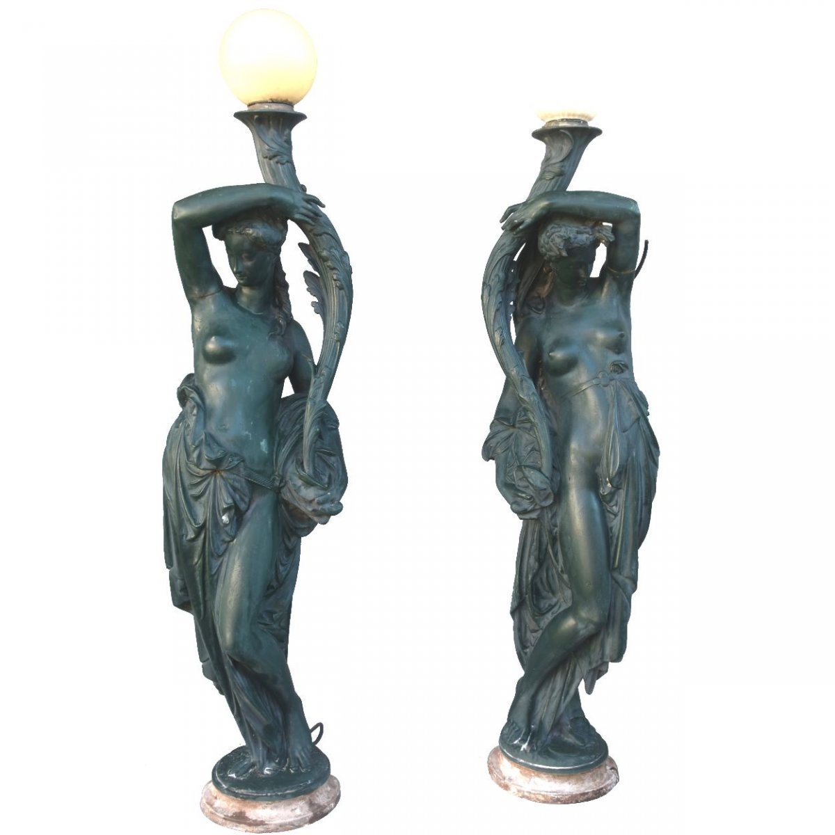 Pair Of Torcheres In Enameled Cast By Durenne XIXth