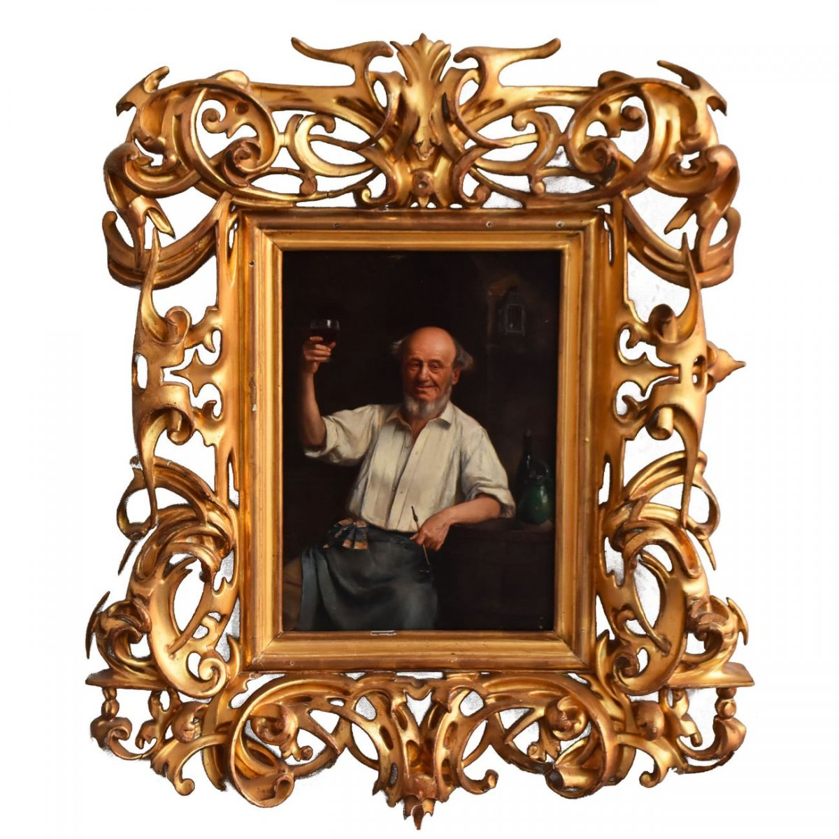 Portrait Of A Man Toasting Signed T Bérengier 1880 In A Very Beautiful Openwork Frame In Golden Wood