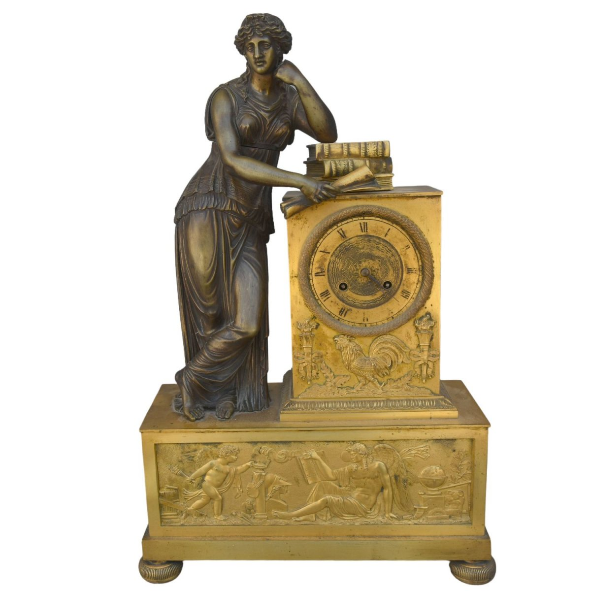 Pendulum Studying National Furniture Empire Period Gilt Bronze