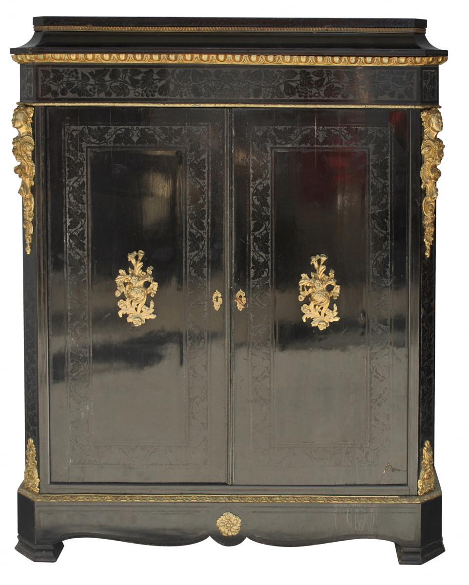 Door Hutch In Napoleon III Style Blackened Wood And Bronze