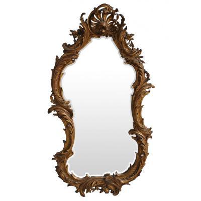 Miroir En Stuc Doré Rocaille époque XIXème