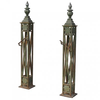 Pair Of Foot Of Ramp Nineteenth Staircase Wrought Iron And Bronze