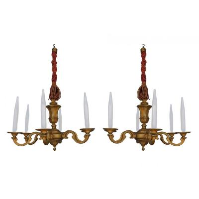 Pair Of Gilt Bronze Chandelier 6 Lights Style Louis XIV