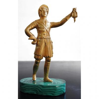 Bronze Russe Veneur à La Perdrix Terrasse En Malachite XIXème