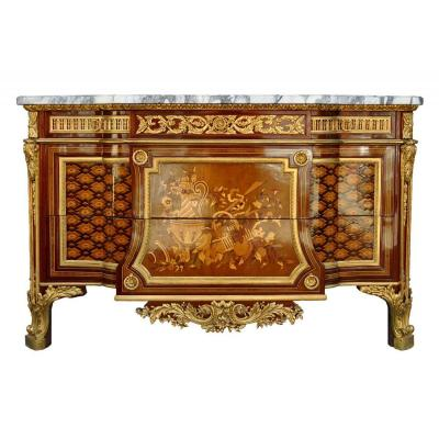 Somptueuse Commode Marquetée Style Louis XV d'Après Riesner