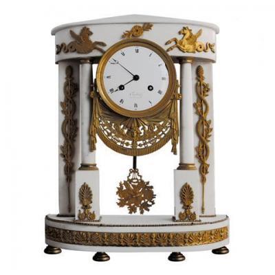 Antique Clock Portico Gilt Bronze Executive And Marble White
