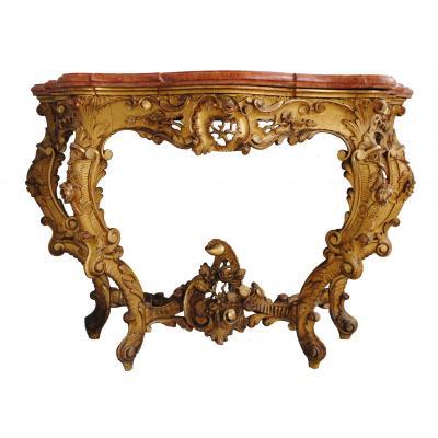 Console  Louis XV En  Bois Doré Dessus Marbre