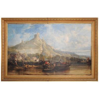 Peinture Scène Lacustre Par Héroult (1802-1853) XIXème