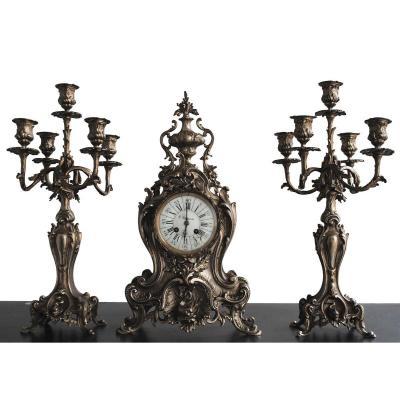Pendule Garniture Rocaille En Bronze Argenté Style Louis XV