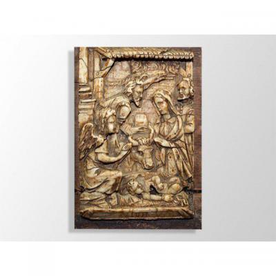 Bas Relief En Albâtre XVII Eme Naissance Du Christ.