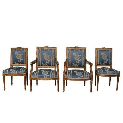 Salon De Style Louis XVI Bois Doré 4 Pièces