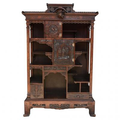 Cabinet Sculpted Asian Wooden Blackened In The Taste Of Gabriel Viardot XIX