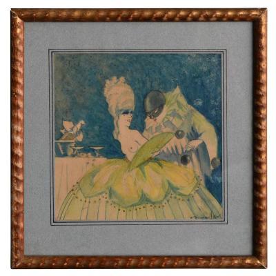 Projet d'Affiche Aquarelle Signé Jacques Lux Polichinelle Coquin Vers 1900