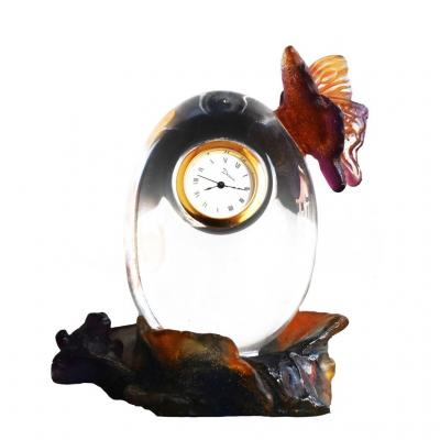 Small Table Clock Crystal Daum Frog And Butterfly