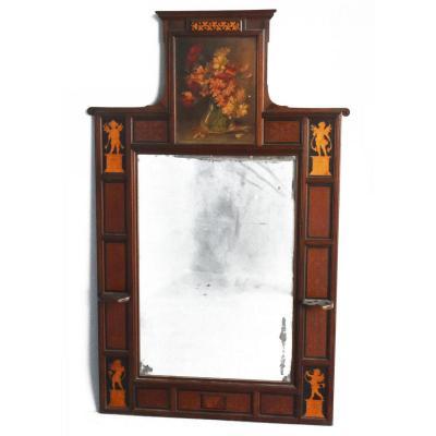 Grand Miroir  XIXème Marqueté à Décor d'Angelots