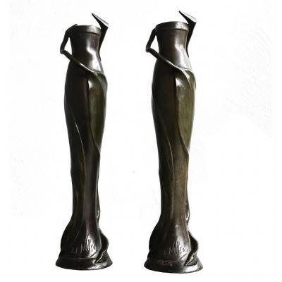 Paire de vases  patinés vert Art nouveau 1900 signés Anton Nelson