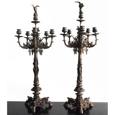 Paire De Grands Chandeliers En Bronze De Jules Moigniez XIXème