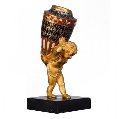 Soliflore En Bronze Doré Napoléon III Et Cloisonné Au Bébé Porteur XIXème