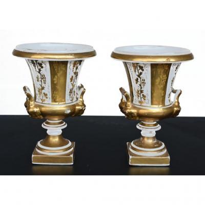 Paire De Vase Porcelaine De Paris époque Louis Philippe XIXème