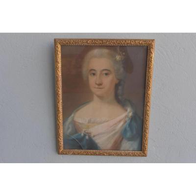 Portrait De Femme Pastel Sous Verre époque XVIIIème