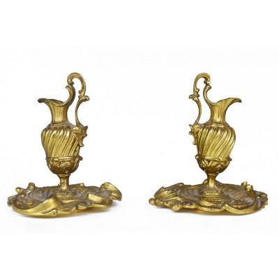 Paire De Petites Aiguières En Bronze Doré Décorative Fin XIXème