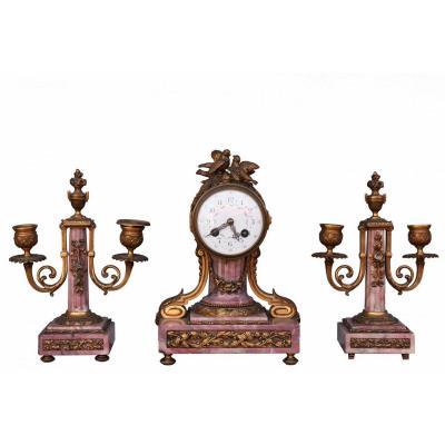Garniture De Style Louis XVI Bronze Et Marbre Fleur De Pécher XIXème