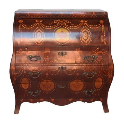 Commode Bureau Marqueté Style Anglais époque XIXème Au Guirlandes