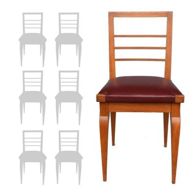 Series Of 6 Oak Chairs Leather Top 1930s By Auguste Vallin