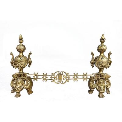 Important Pair Of Fireplace Andirons Bronze XIXth