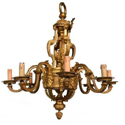 Magnifique Lustre Louis XIV époque Napoléon III En Bronze Doré Aux Têtes