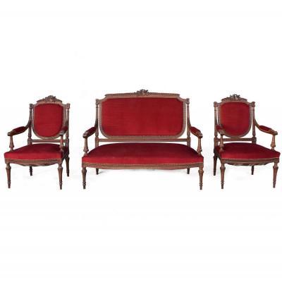 Salon Trois-pièces 1900 En Acajou De Style Louis XVI