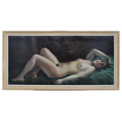 Peinture Signée Hilgers 1930 Olympia Nue Art Déco
