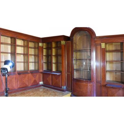 Spectaculaire Bibliothèque En Acajou Style Empire Fin XIXème