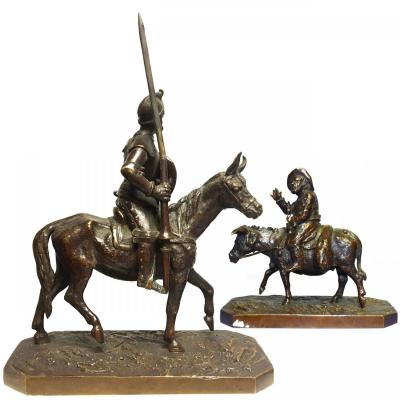 Don Quixote And Sancho In Bronze Pair By Fratin Late Nineteenth