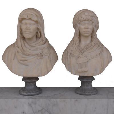 Paire De Bustes Orientalistes En Marbre De Carrare XIXème