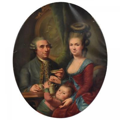 Peinture En Médaillon Portrait De Famille époque XIXème