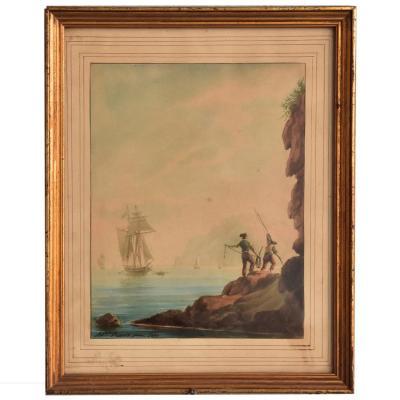 Antoire Roux Père  Marine Bord De Côte Datée 1831
