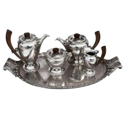 Tea Set 1930 Silver Metal 5 Pieces