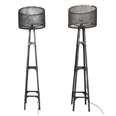Pair Of Metal Floor Lamp Industrial Vintage Style