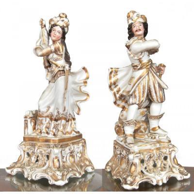 Paire De Flacons  En Porcelaine d'Après Jacob Petit
