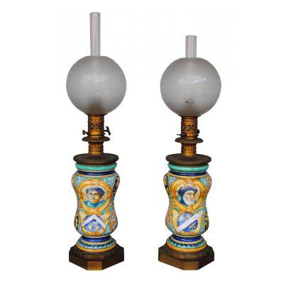 Paire De Lampes à Petrole 1880 Majolique Italienne